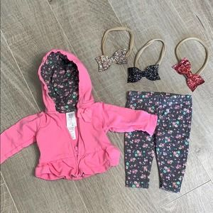 Carter's Newborn Baby Girl Outfit and Sparkly Bows
